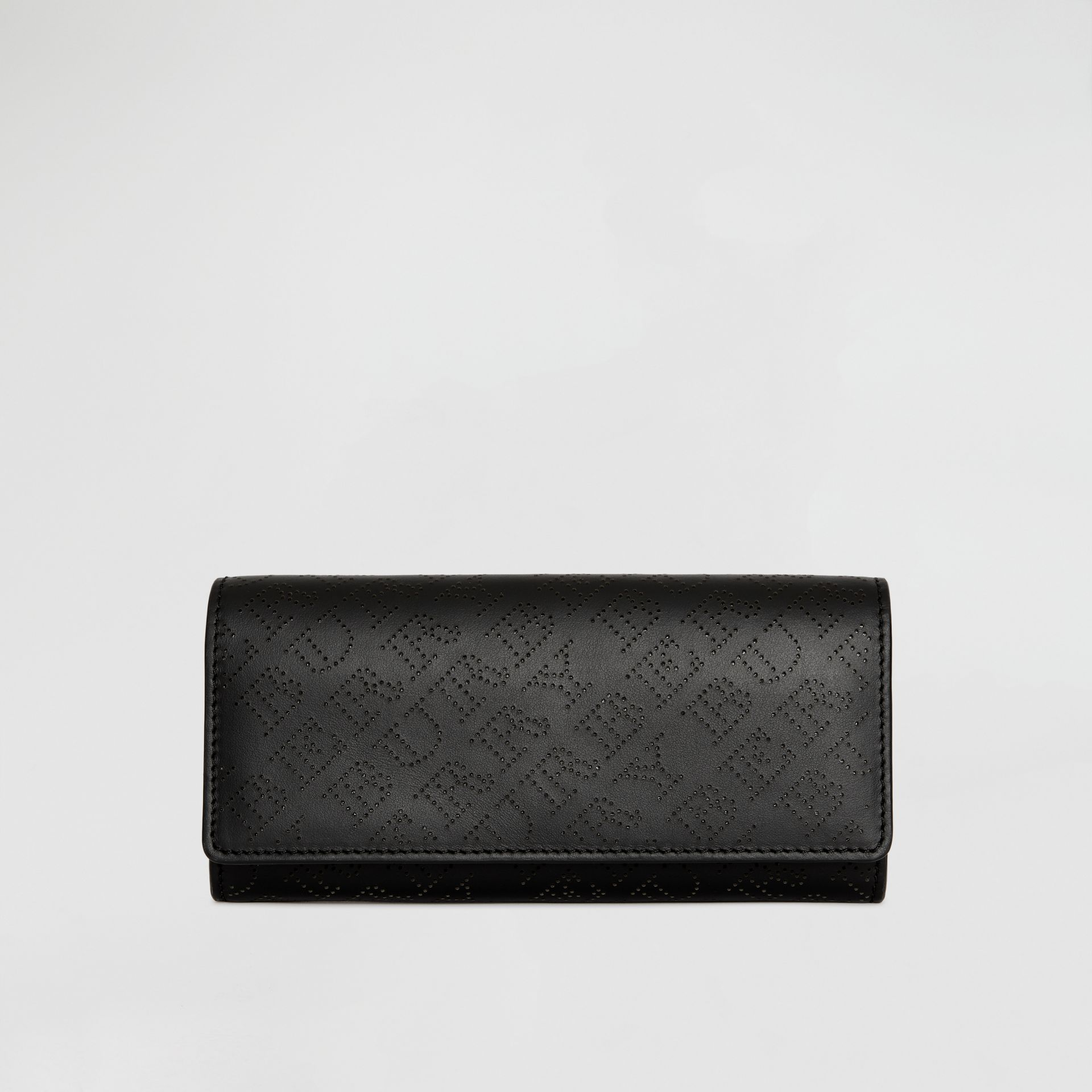 Perforated Logo Leather Continental Wallet in Black - Women | Burberry - gallery image 0