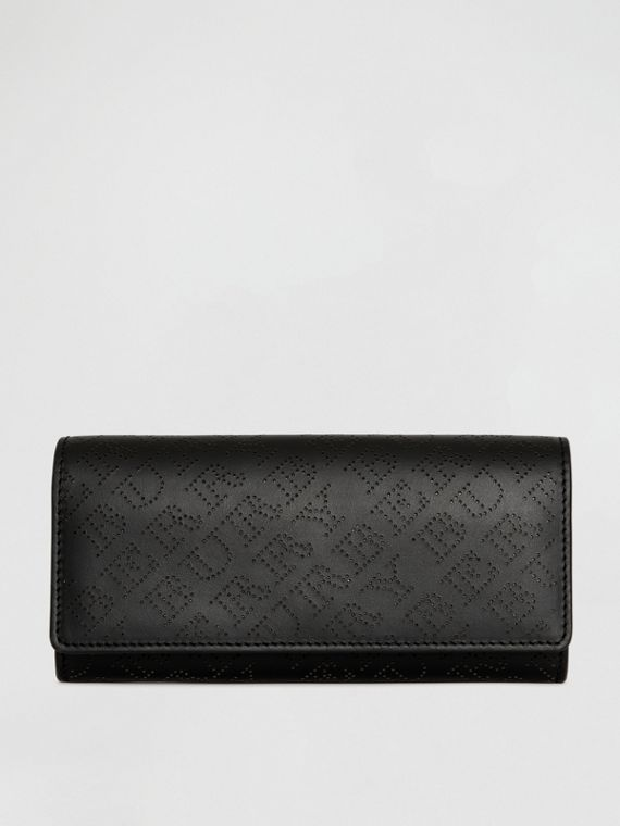 Perforated Logo Leather Continental Wallet in Black