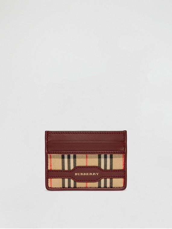 Porta carte di credito in pelle con motivo tartan del 1983 (Rosso Antico)
