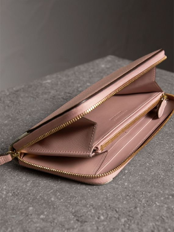 House Check and Leather Ziparound Wallet in Pale Orchid - Women | Burberry - cell image 3