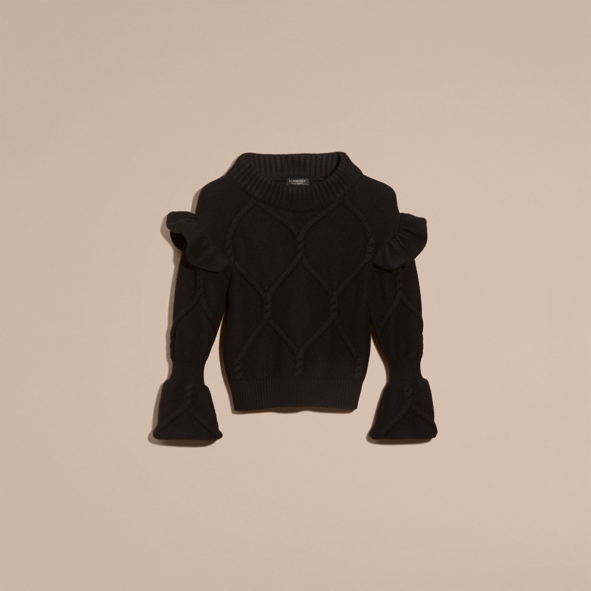 Black Cable Knit Wool Cashmere Sweater with Ruffle Bell Sleeves Black - gallery image 4