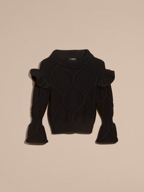 Cable Knit Wool Cashmere Sweater with Ruffle Bell Sleeves in Black - cell image 3