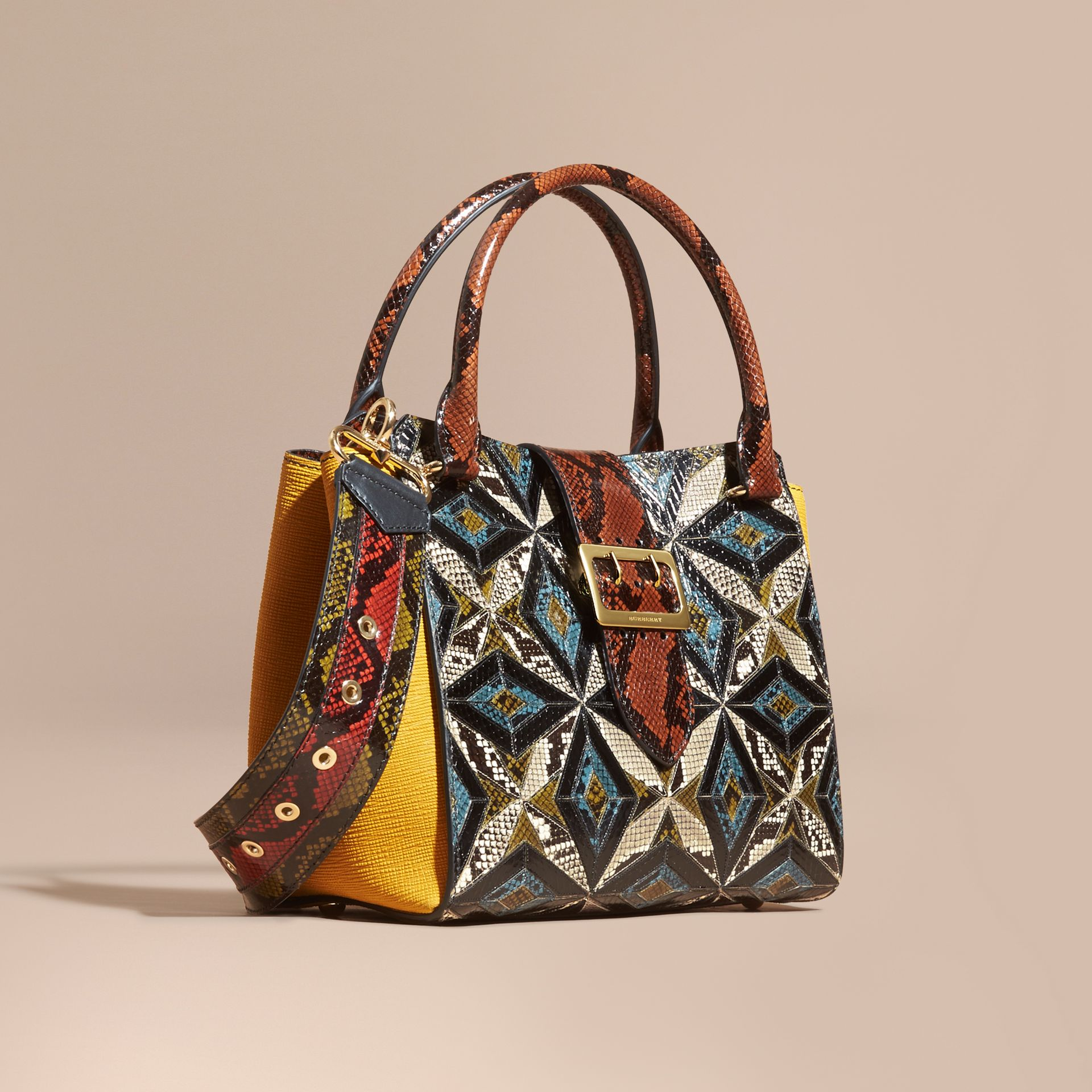 The Medium Buckle Tote in Tiled Snakeskin in Mineral Blue - Women | Burberry - gallery image 8