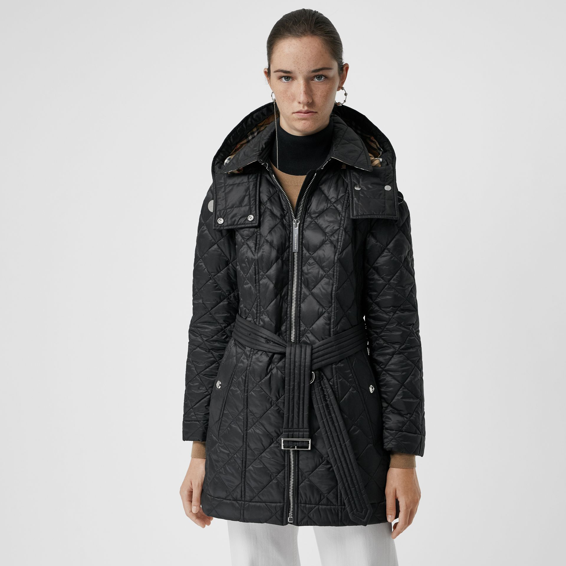 Detachable Hood Lightweight Diamond Quilted Coat in Black - Women | Burberry - gallery image 6