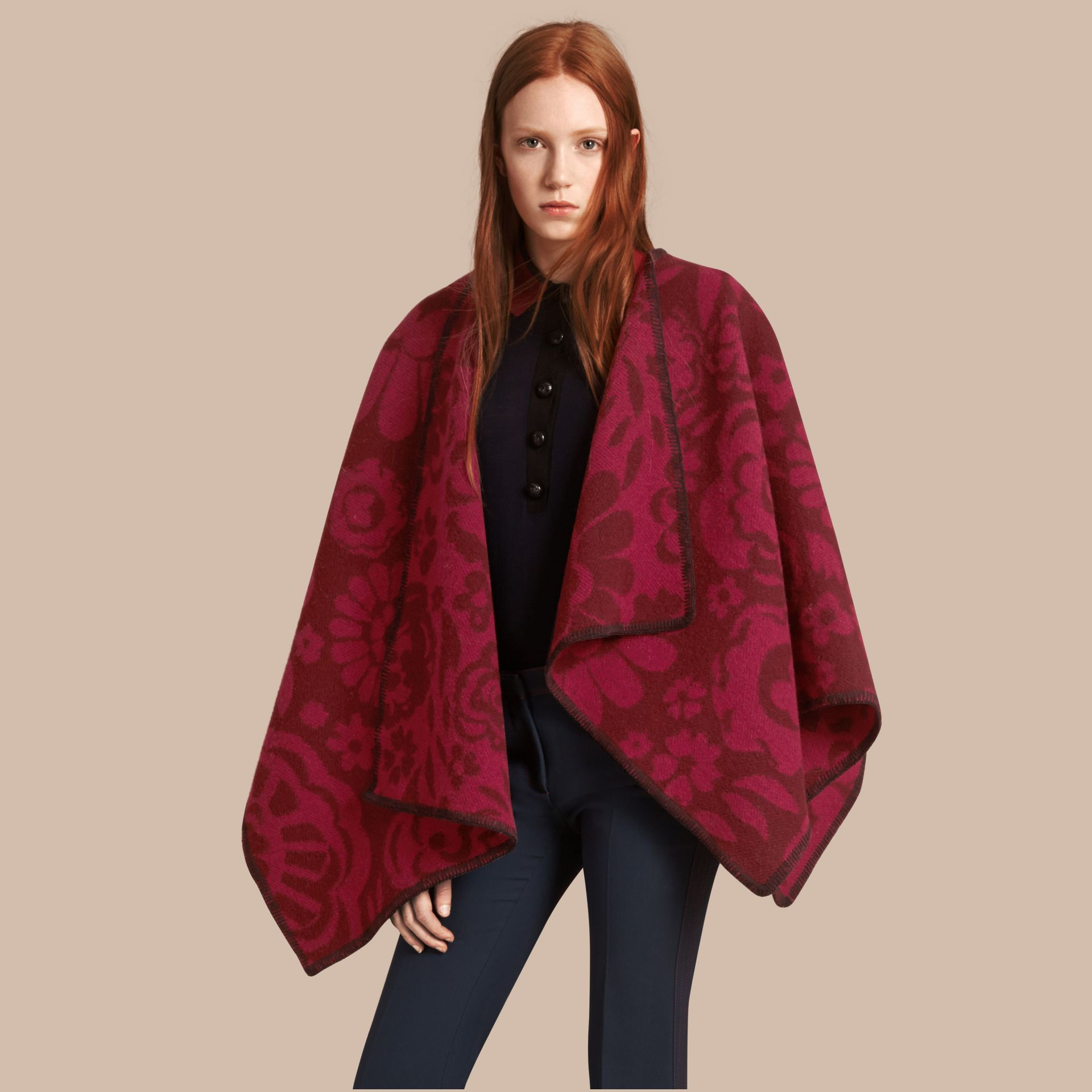 Plum Floral Jacquard Wool Cashmere Poncho - gallery image 1