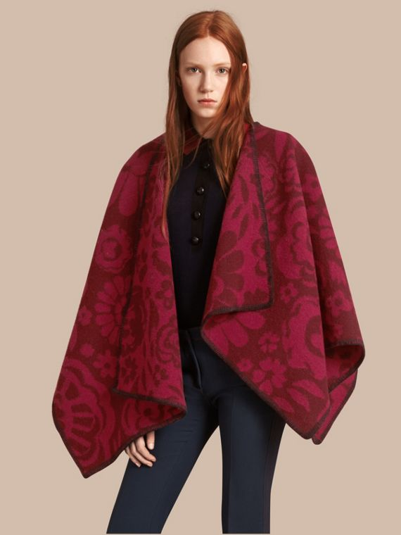Floral Jacquard Wool Cashmere Poncho Plum