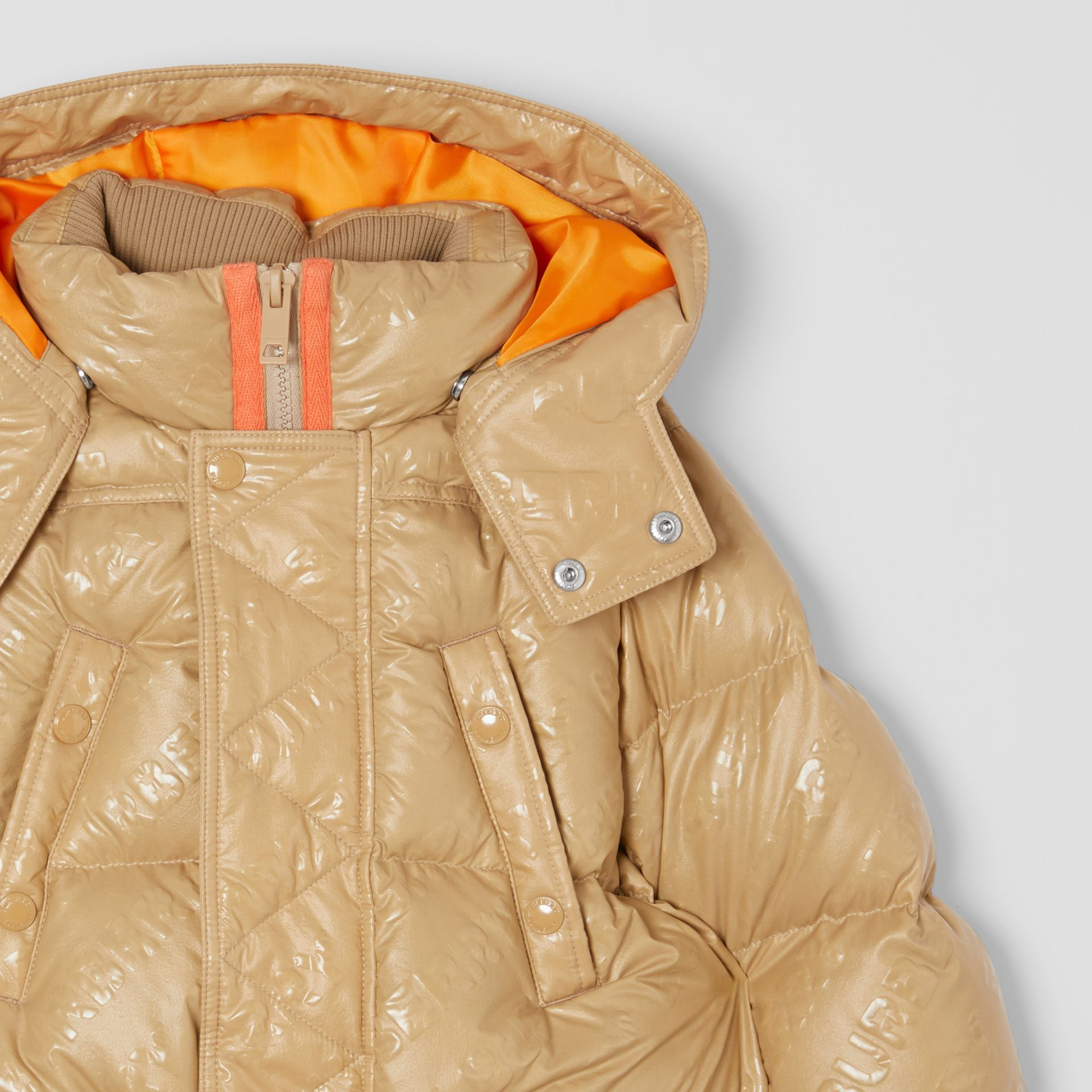 Detachable Hood Embossed Logo Puffer Coat in Honey | Burberry Hong Kong S.A.R - gallery image 5
