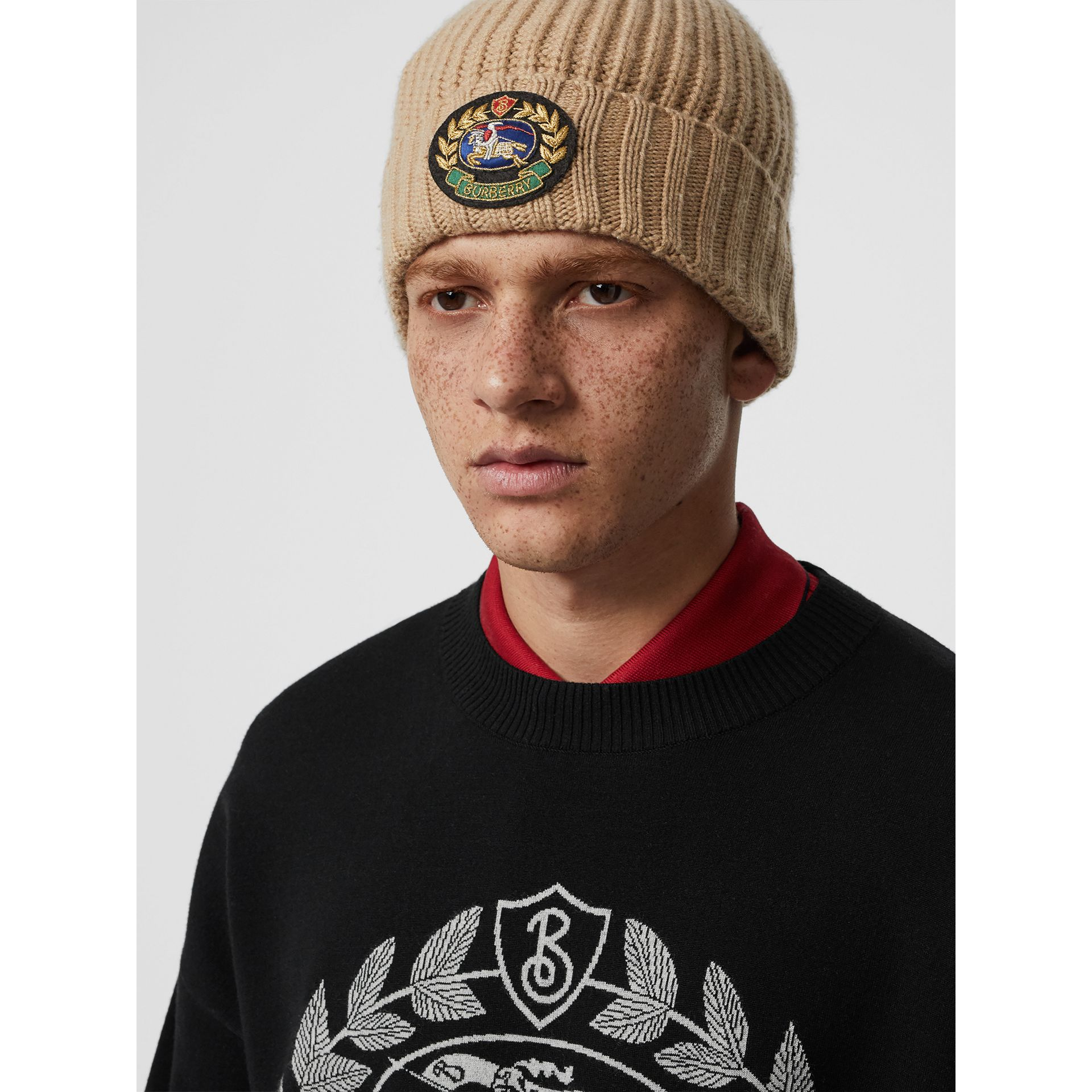 Embroidered Crest Rib Knit Wool Cashmere Beanie in Sand | Burberry - gallery image 3