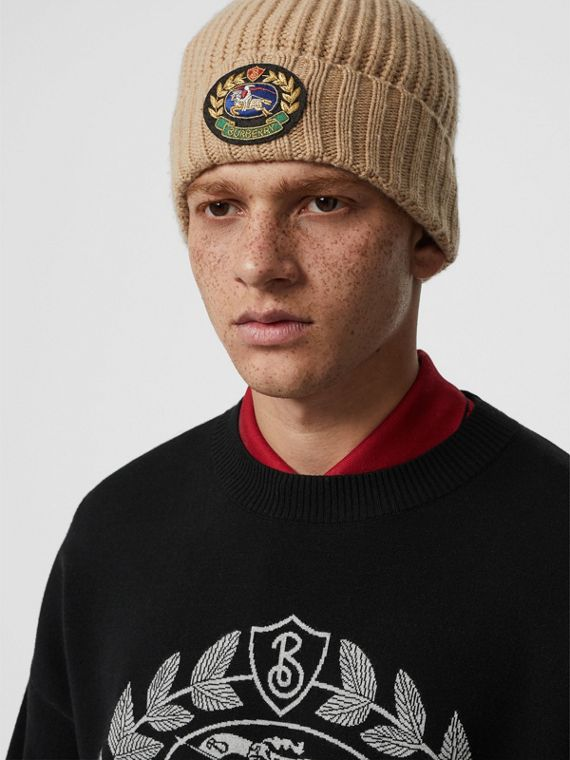 Embroidered Crest Rib Knit Wool Cashmere Beanie in Sand