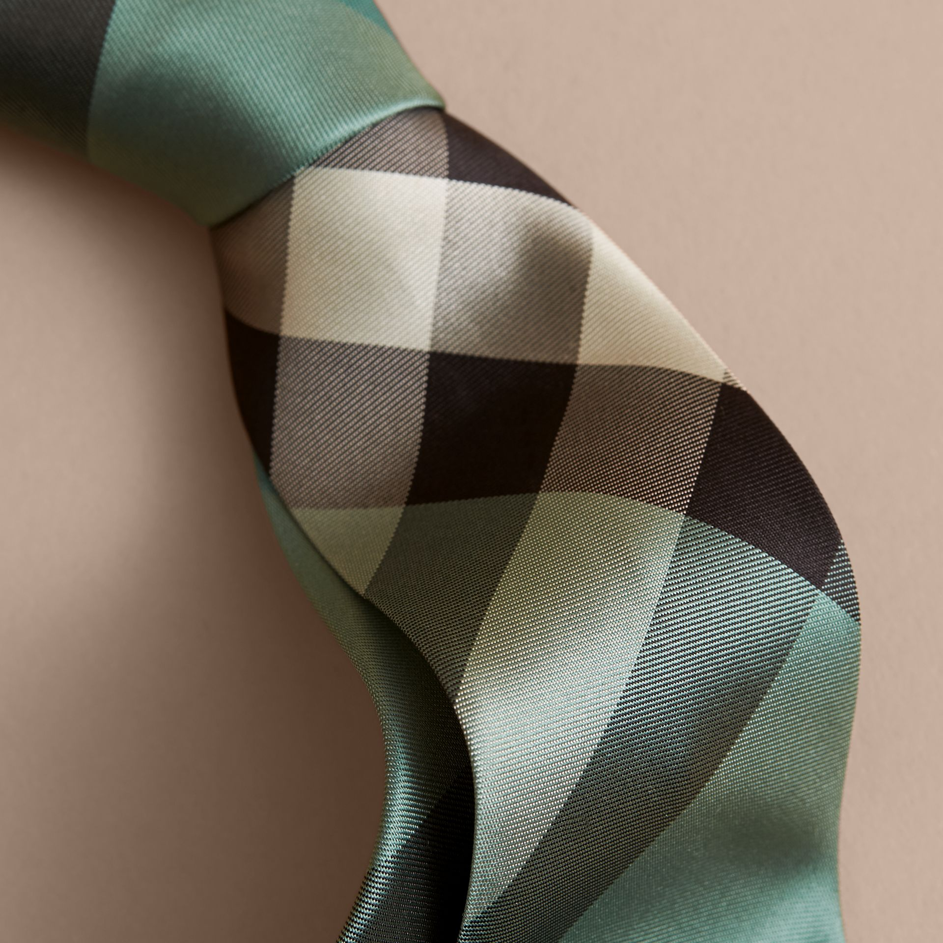 Modern Cut Check Silk Tie in Sea Green - Men | Burberry - gallery image 1