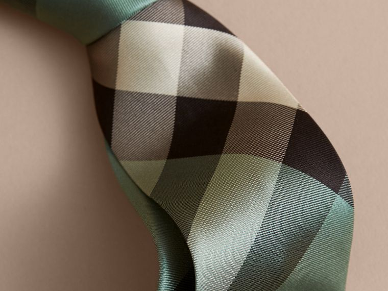 Modern Cut Check Silk Tie in Sea Green - Men | Burberry - cell image 1