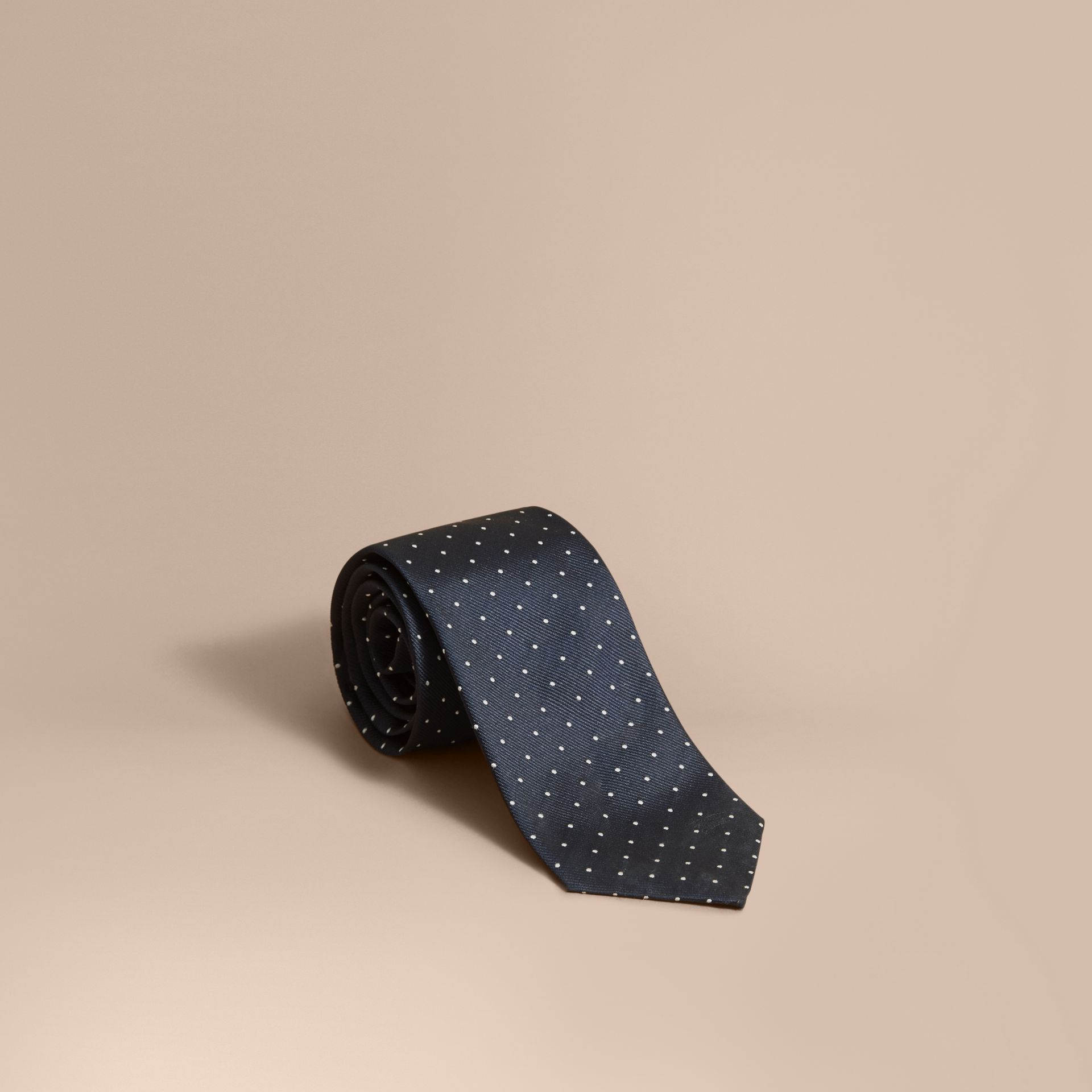 Modern Cut Polka Dot Silk Tie in Navy - gallery image 1