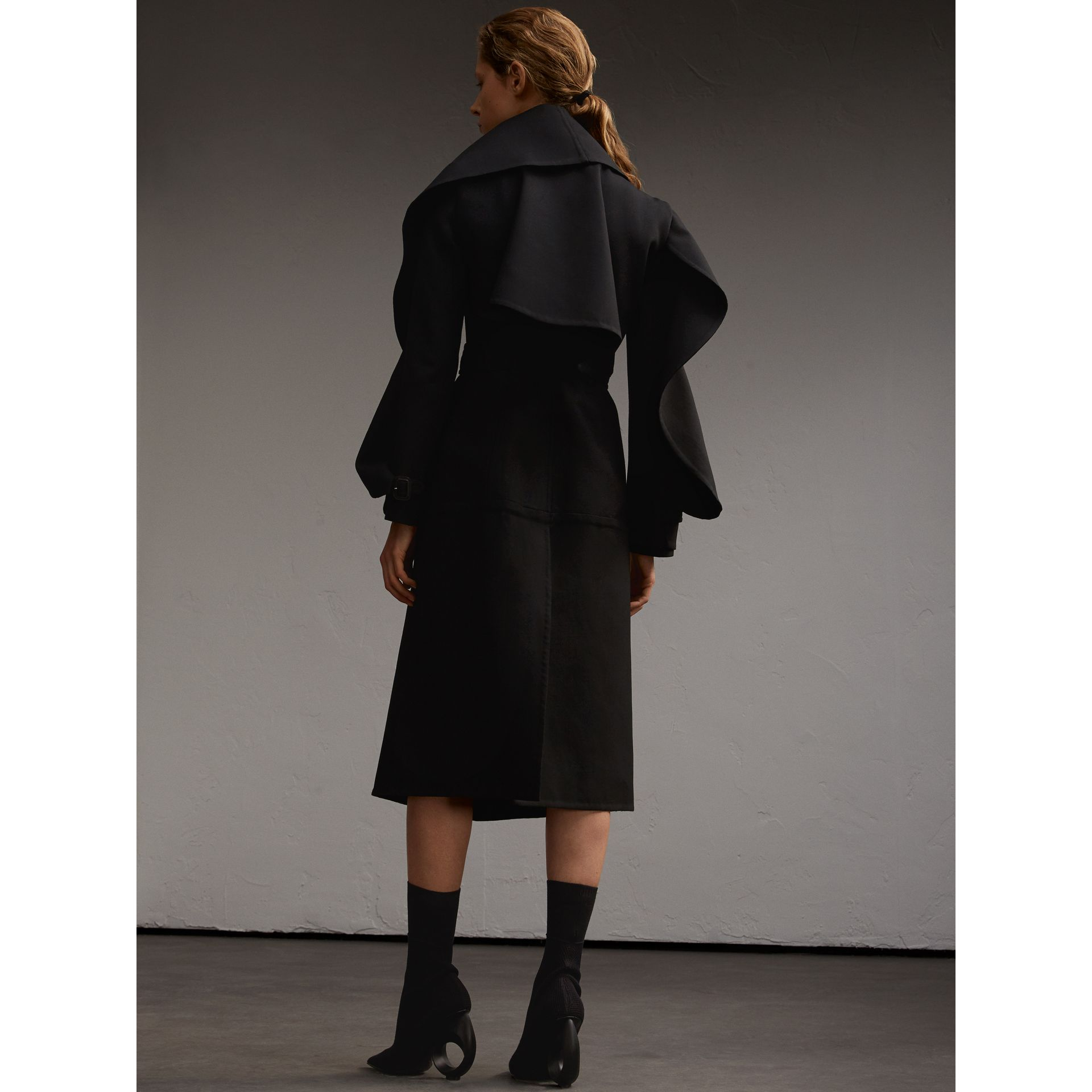 Lightweight Double-faced Wool Twill Asymmetric Coat - gallery image 3