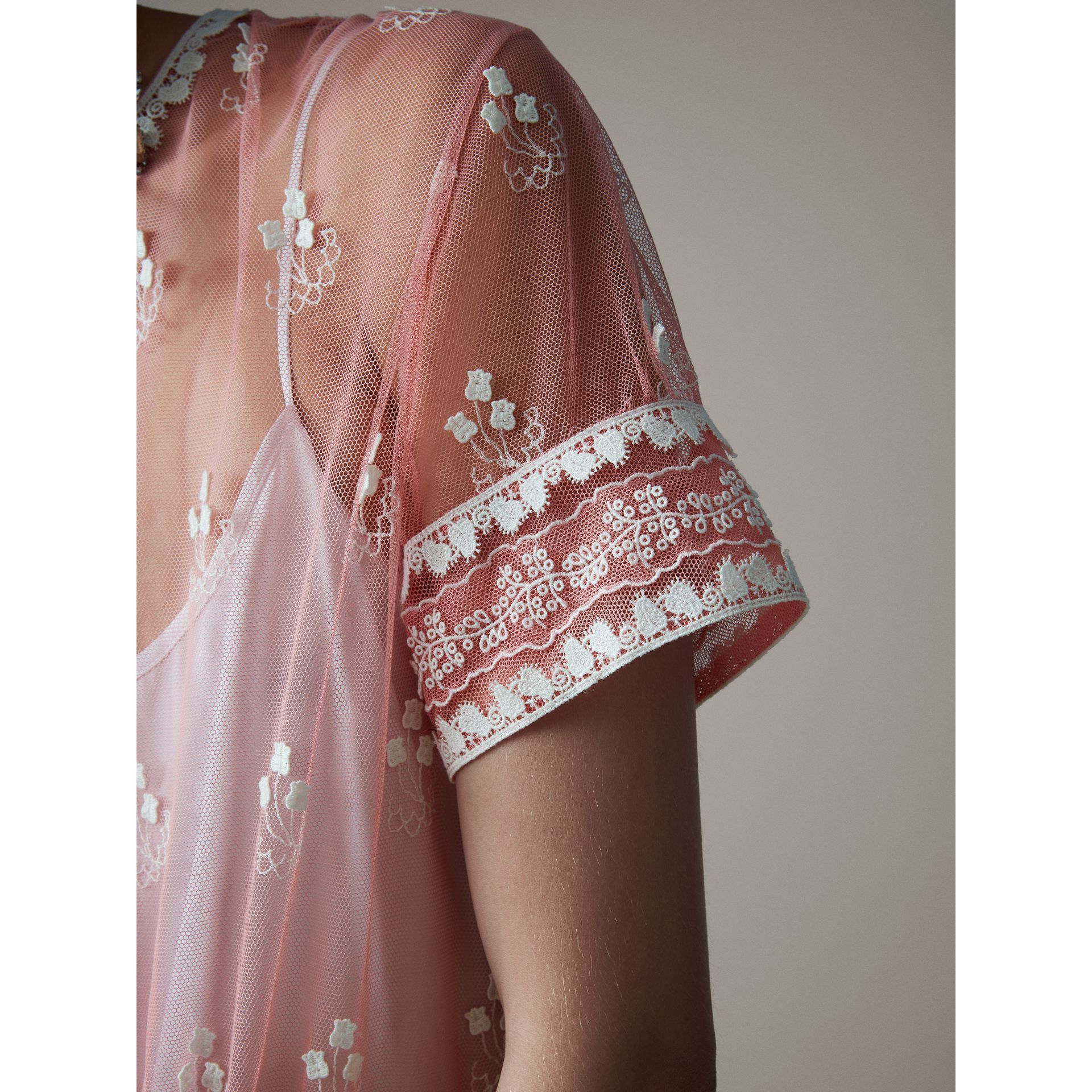 Short-sleeve Embroidered Tulle Dress in Rose Pink/white - Women | Burberry Australia - gallery image 1