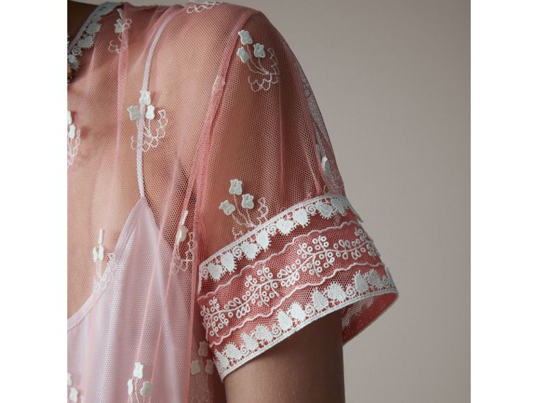 Short-sleeve Embroidered Tulle Dress in Rose Pink/white - Women | Burberry - cell image 1