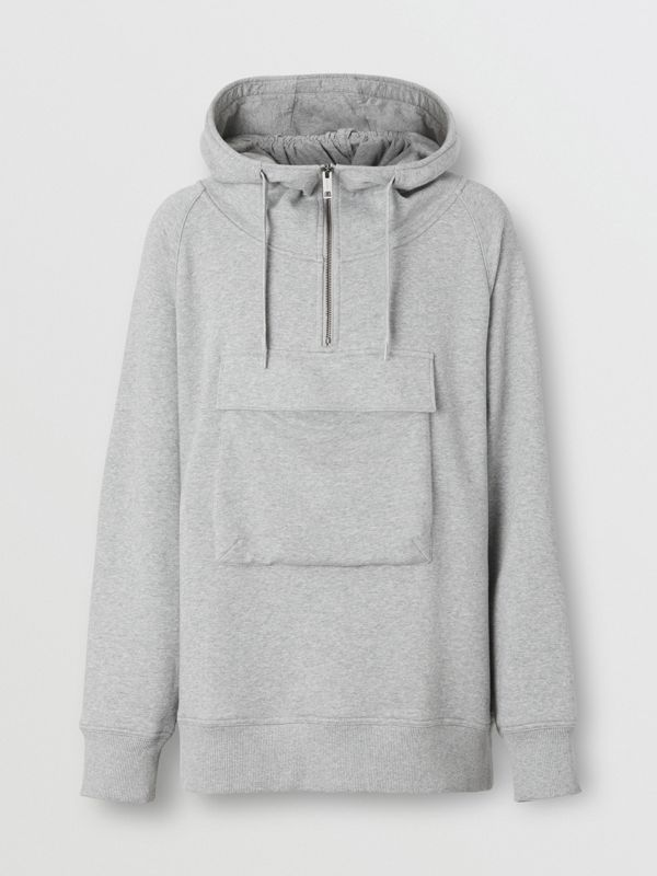 Horseferry Print Cotton Hoodie in Pale Grey Melange - Men | Burberry United States - cell image 3