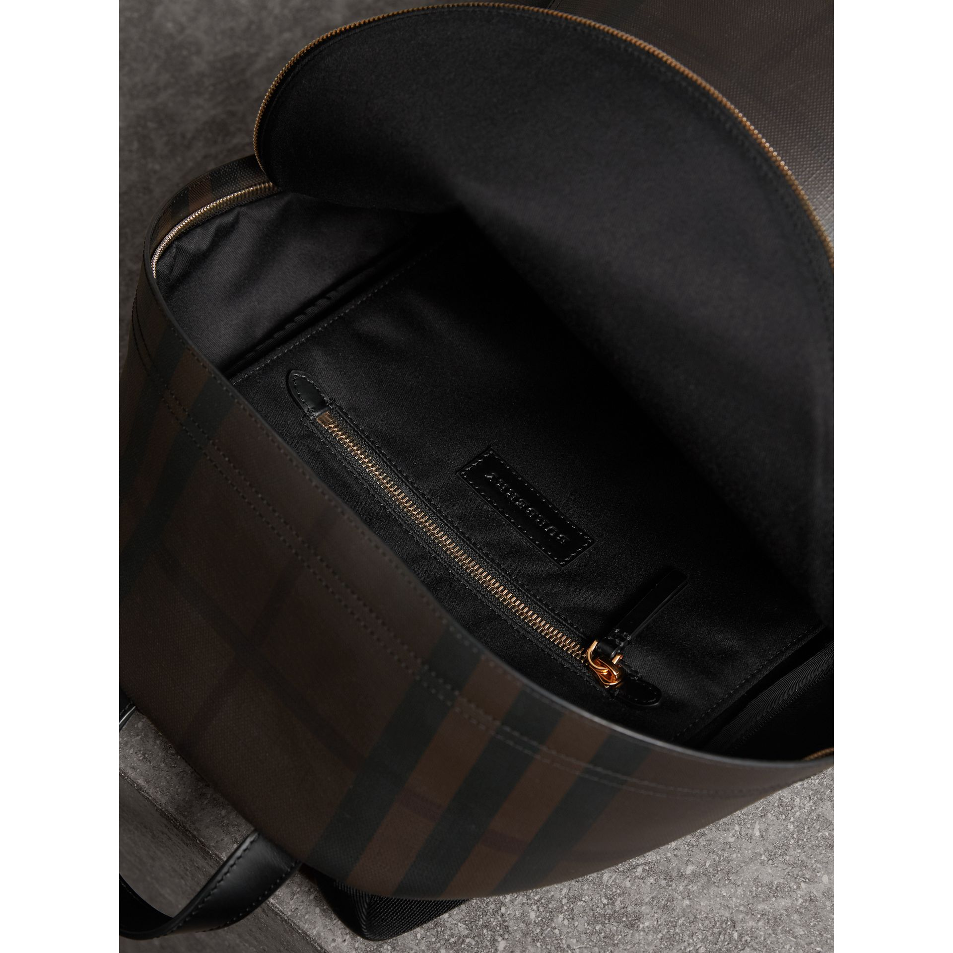 Leather Trim London Check Backpack in Chocolate/black - Men | Burberry - gallery image 5