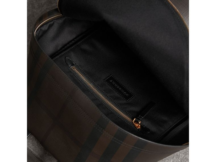 Leather Trim London Check Backpack in Chocolate/black - Men | Burberry - cell image 4