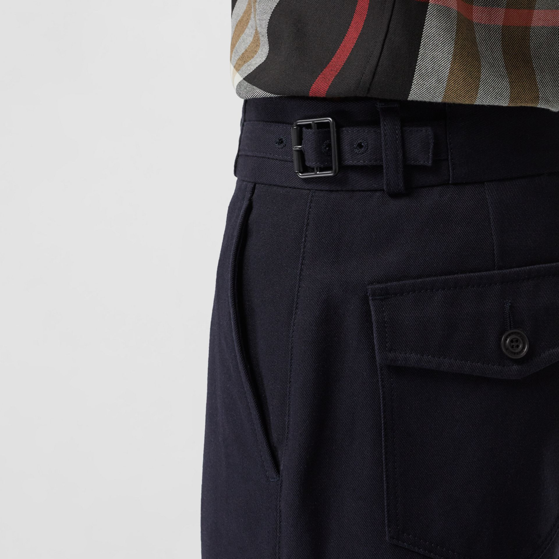 Cotton Blend Twill Cropped Chinos in Dark Navy - Men | Burberry - gallery image 1