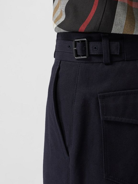 Cotton Blend Twill Cropped Chinos in Dark Navy - Men | Burberry United Kingdom - cell image 1