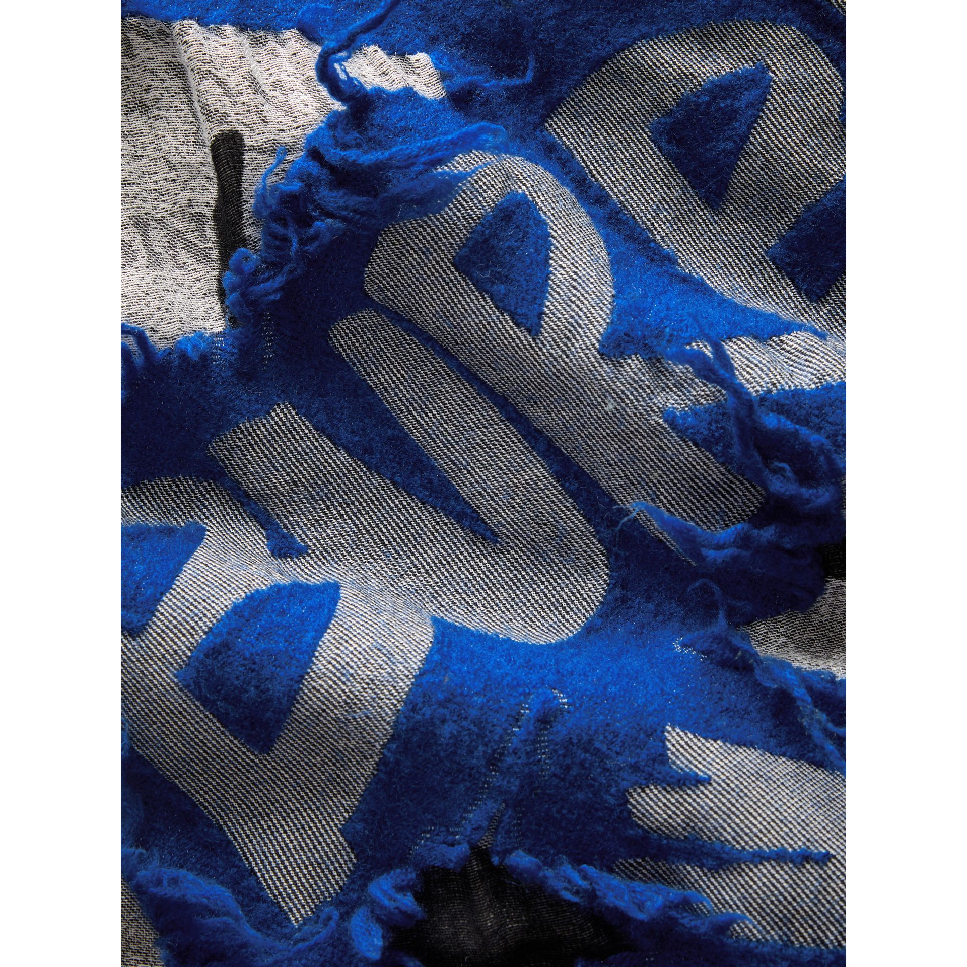 Graffiti Print Fil Coupé Cotton Wool Modal Scarf in Cobalt Blue | Burberry - gallery image 1