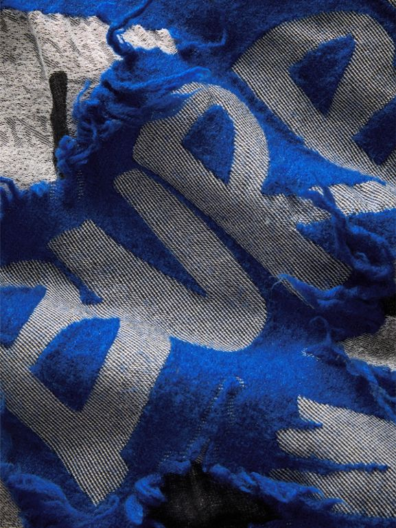 Graffiti Print Fil Coupé Cotton Wool Modal Scarf in Cobalt Blue | Burberry - cell image 1