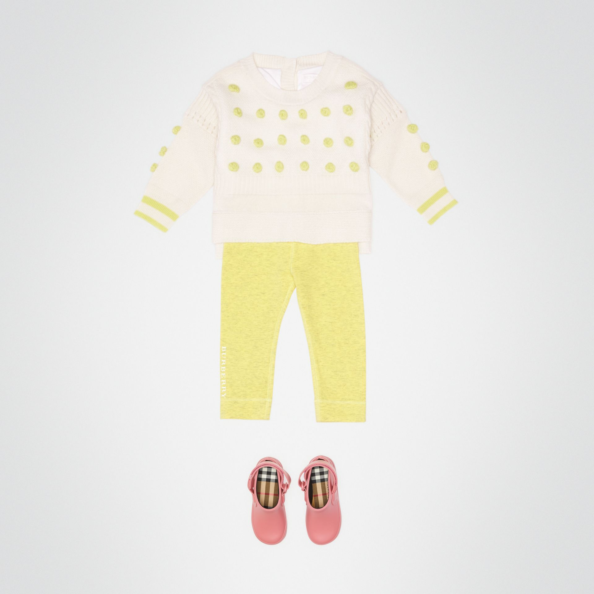 Logo Print Stretch Jersey Leggings in Citrus Yellow - Children | Burberry - gallery image 2