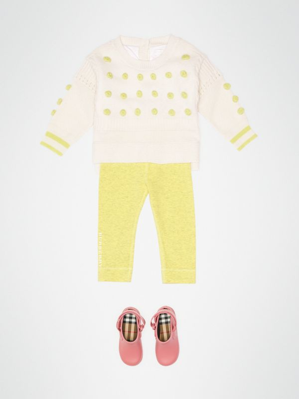 Logo Print Stretch Jersey Leggings in Citrus Yellow - Children | Burberry - cell image 2