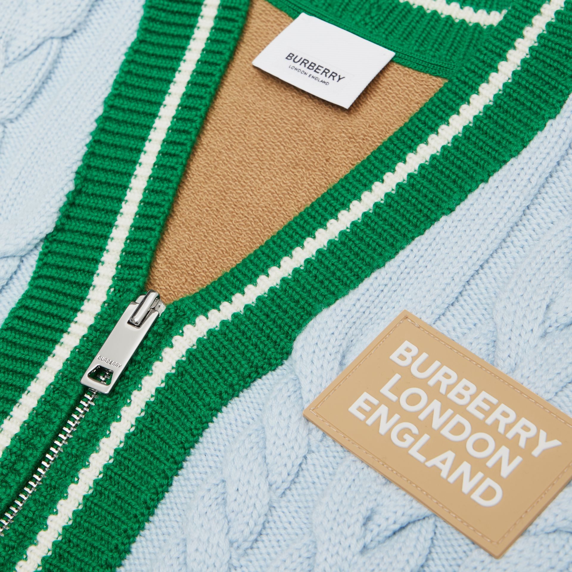 Logo Appliqué Cable Knit Wool Cardigan in Pale Blue | Burberry Australia - gallery image 1