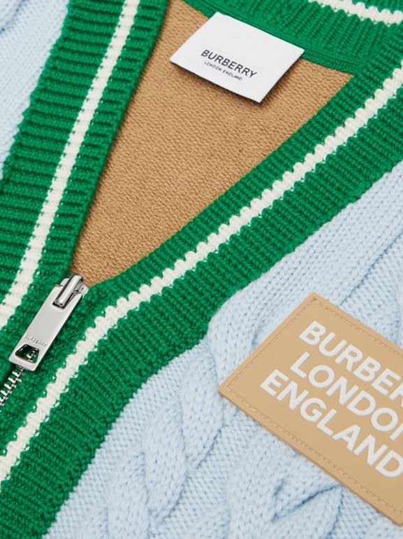 Logo Appliqué Cable Knit Wool Cardigan in Pale Blue | Burberry Australia - cell image 1