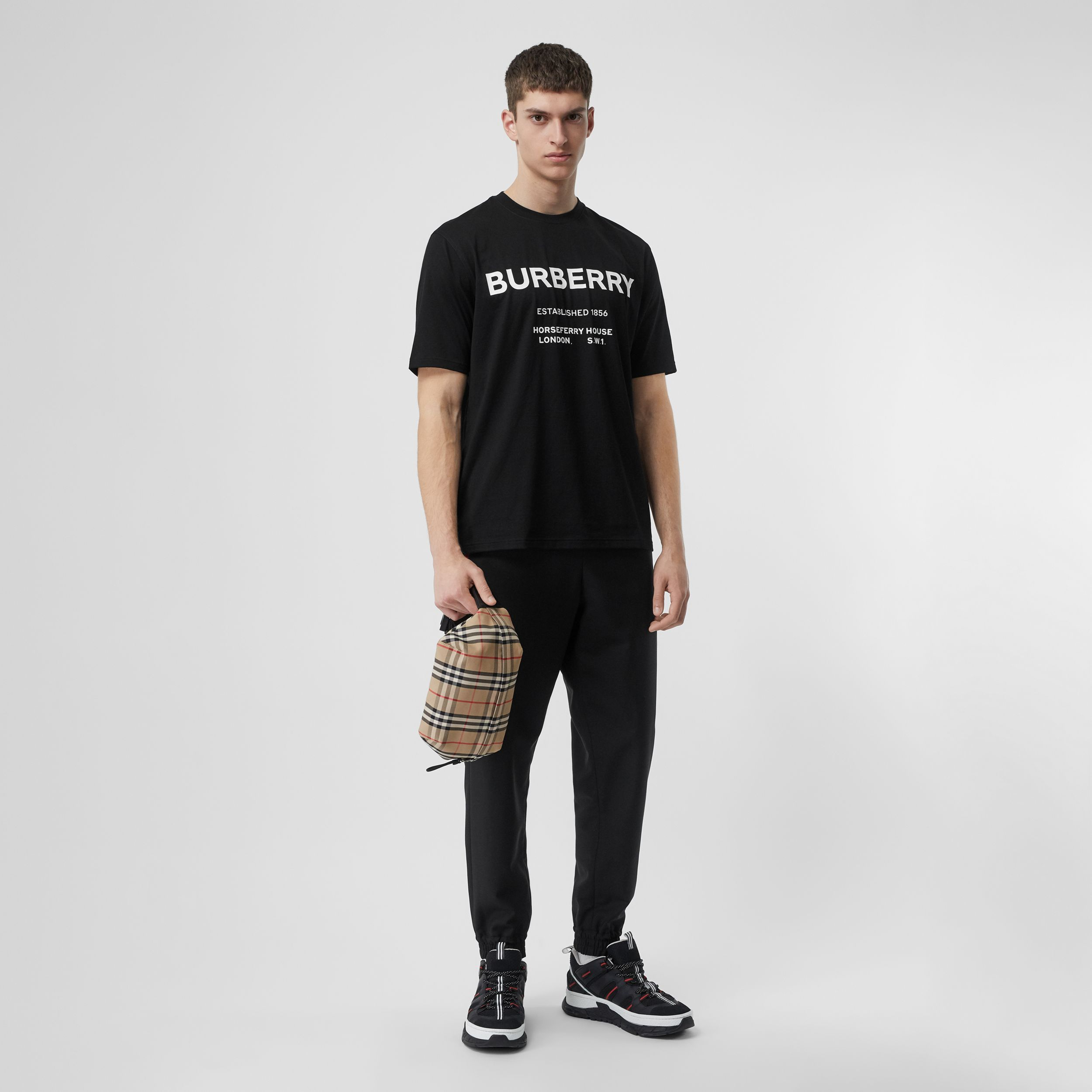 Horseferry Print Cotton T-shirt in Black - Men | Burberry - 1