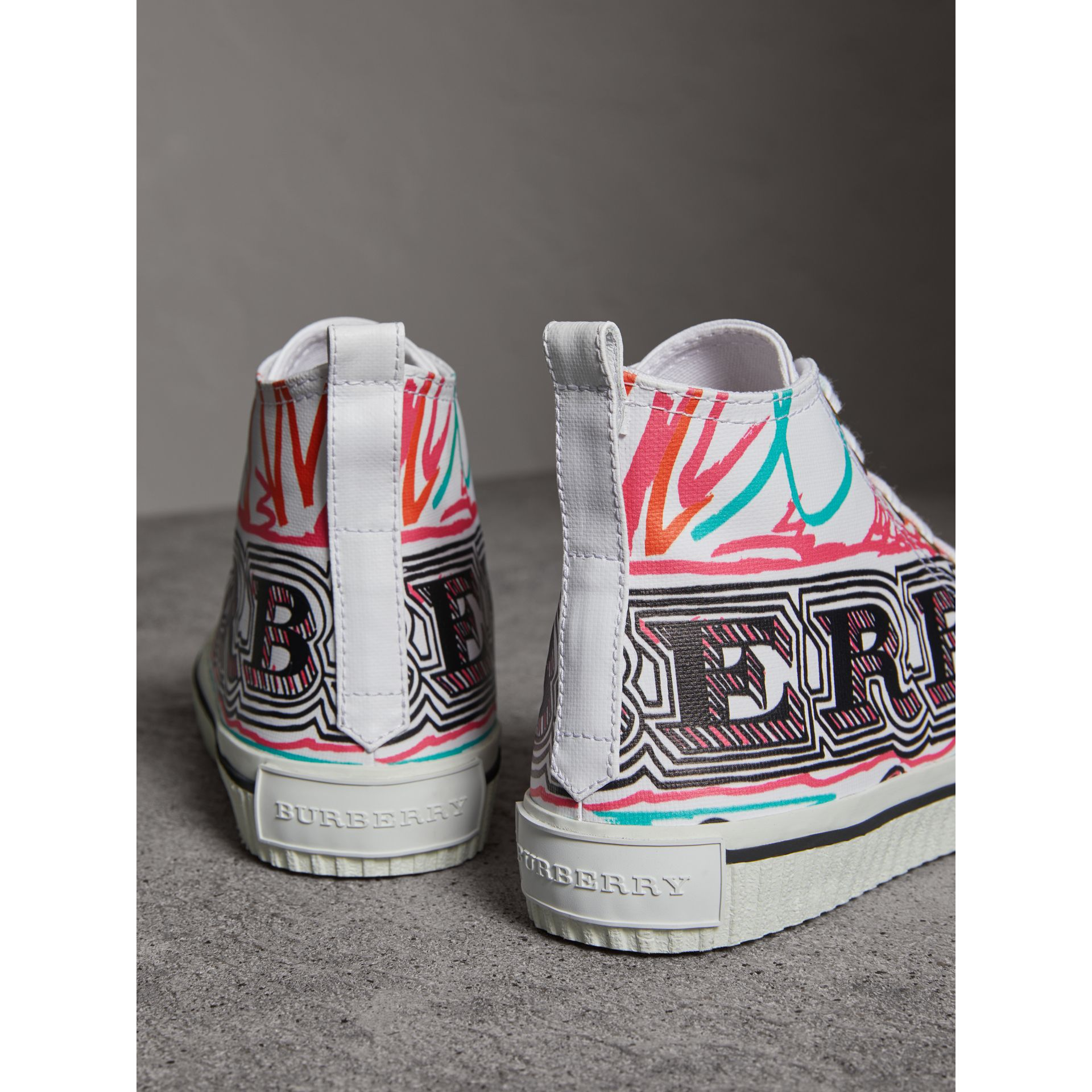 Doodle Print Cotton High-top Trainers in Optic White - Women | Burberry United Kingdom - gallery image 3