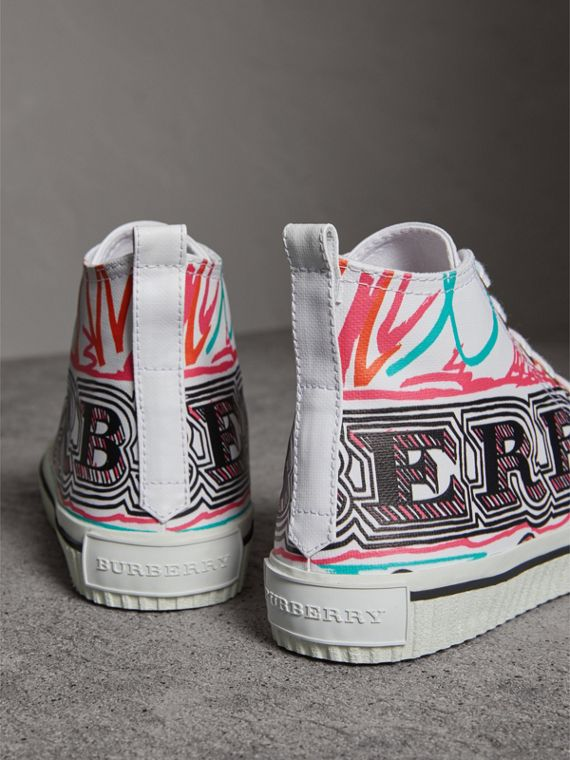 Doodle Print Cotton High-top Trainers in Optic White - Women | Burberry - cell image 3