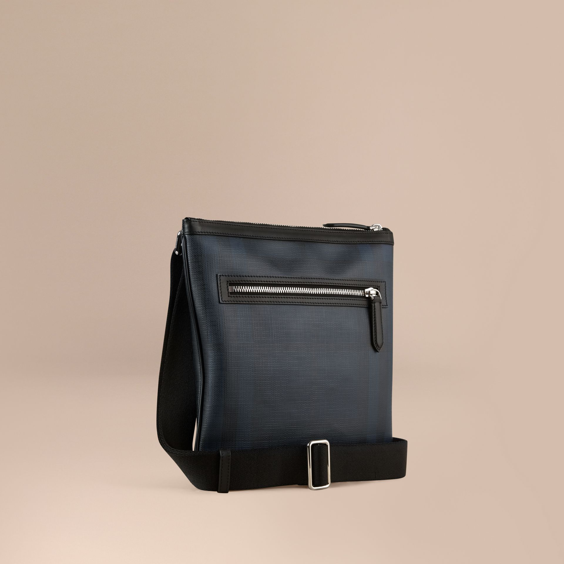 Leather Trim London Check Crossbody Bag in Navy/black - gallery image 1