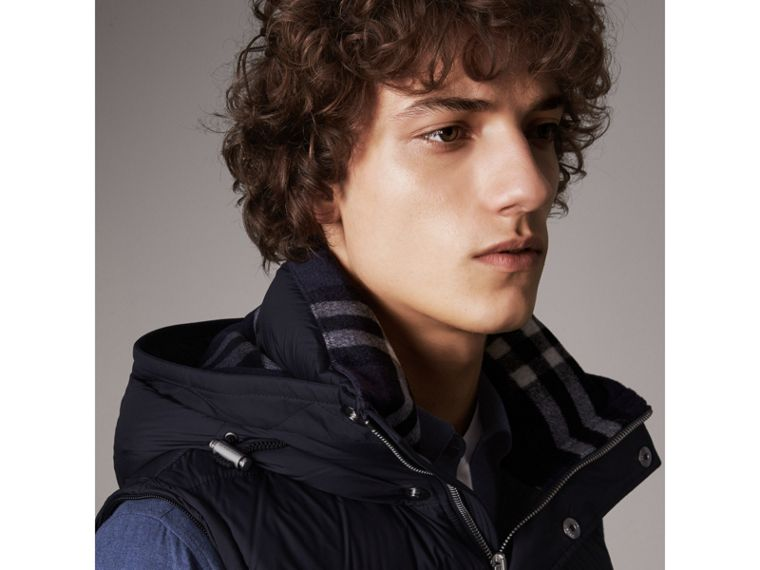 Detachable-sleeve Down-filled Puffer Jacket in Navy - Men | Burberry - cell image 4