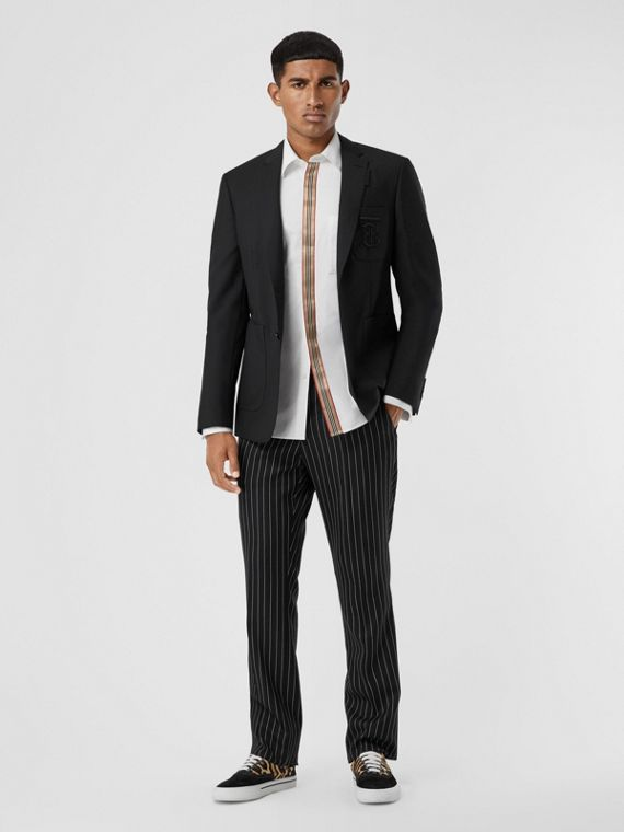 Slim Fit Monogram Motif Wool Mohair Tailored Jacket in Black