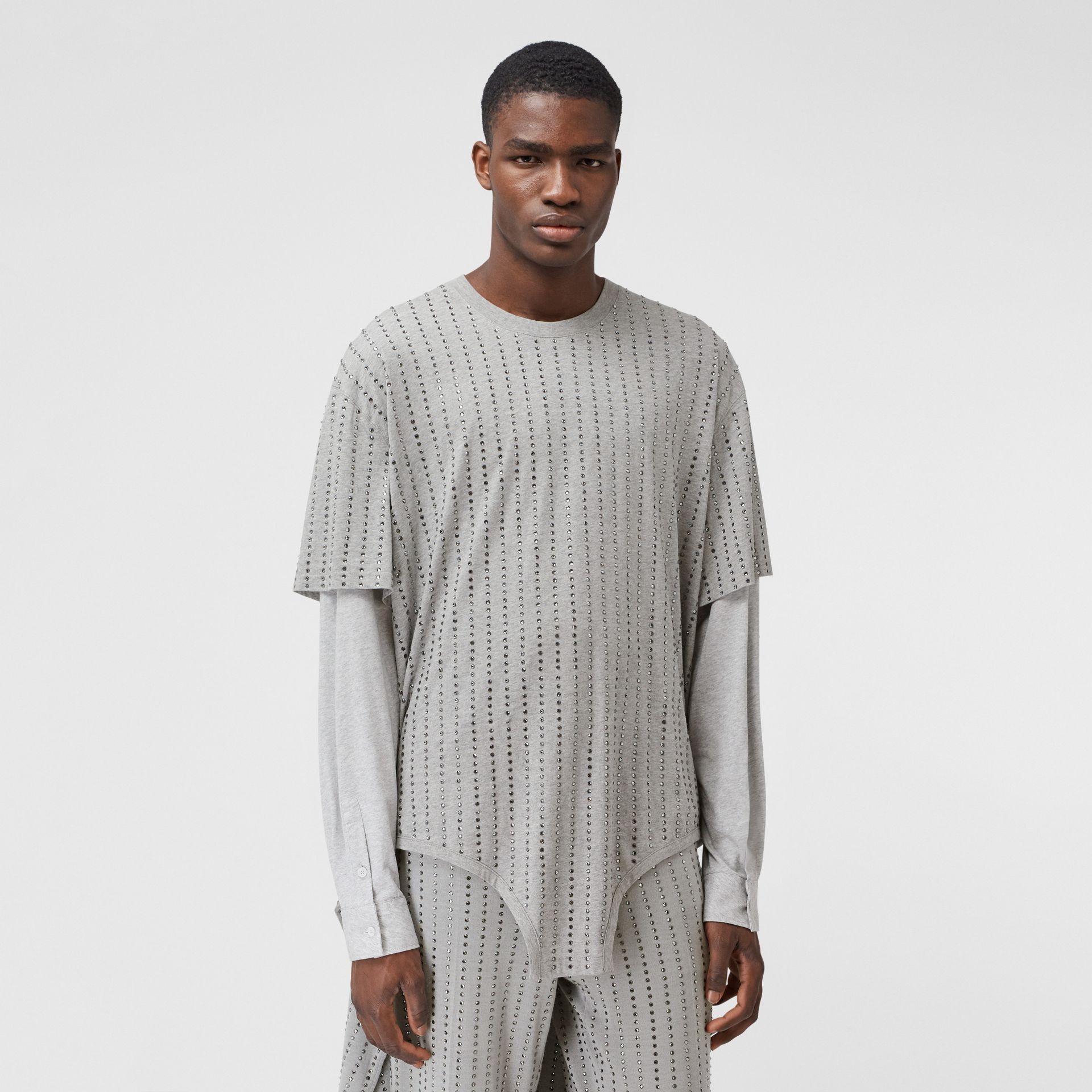 Cut-out Hem Crystal Pinstriped Cotton Oversized T-shirt in Cloud Grey | Burberry - gallery image 0