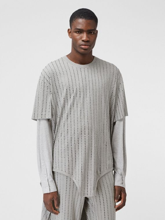 Cut-out Hem Crystal Pinstriped Cotton Oversized T-shirt in Cloud Grey