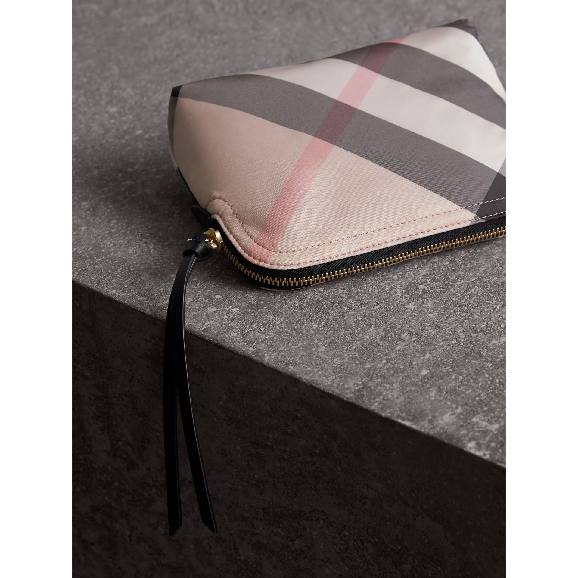 Medium Zip-top Check Technical Pouch in Ash Rose - Women | Burberry Australia - gallery image 3
