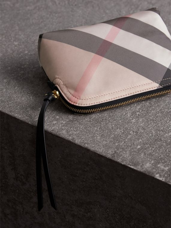 Medium Zip-top Check Technical Pouch in Ash Rose - Women | Burberry Australia - cell image 2