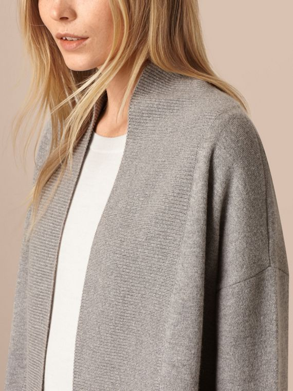 Pale grey melange Cashmere and Cotton Blend Shawl Cardigan Pale Grey Melange - cell image 3