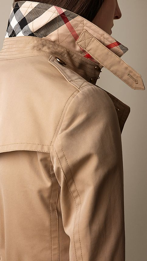 Honey Check Detail Cotton Poplin Trench Coat - Image 3
