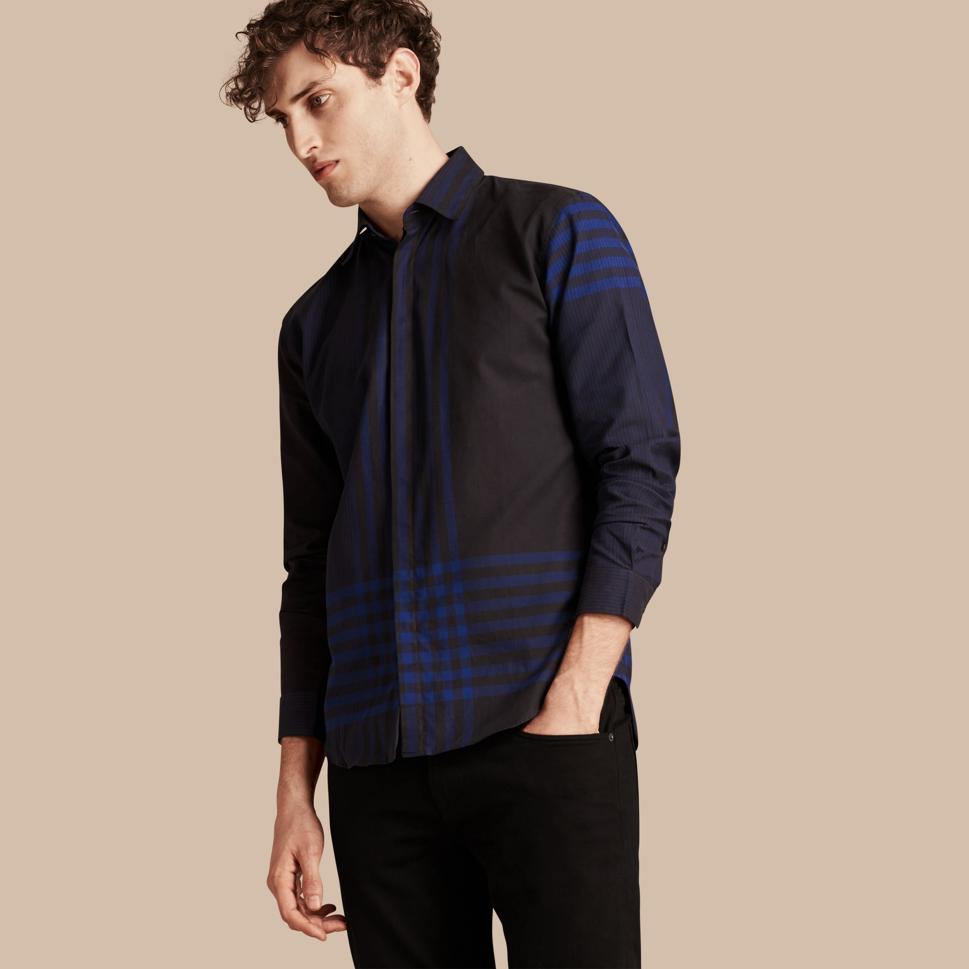 Bright navy Graphic Check Cotton Shirt Bright Navy - gallery image 1