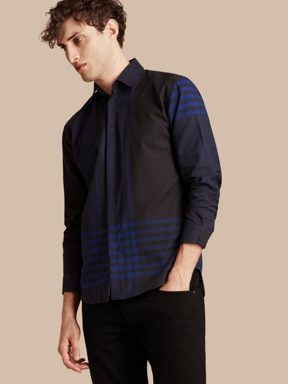 Graphic Check Cotton Shirt Bright Navy