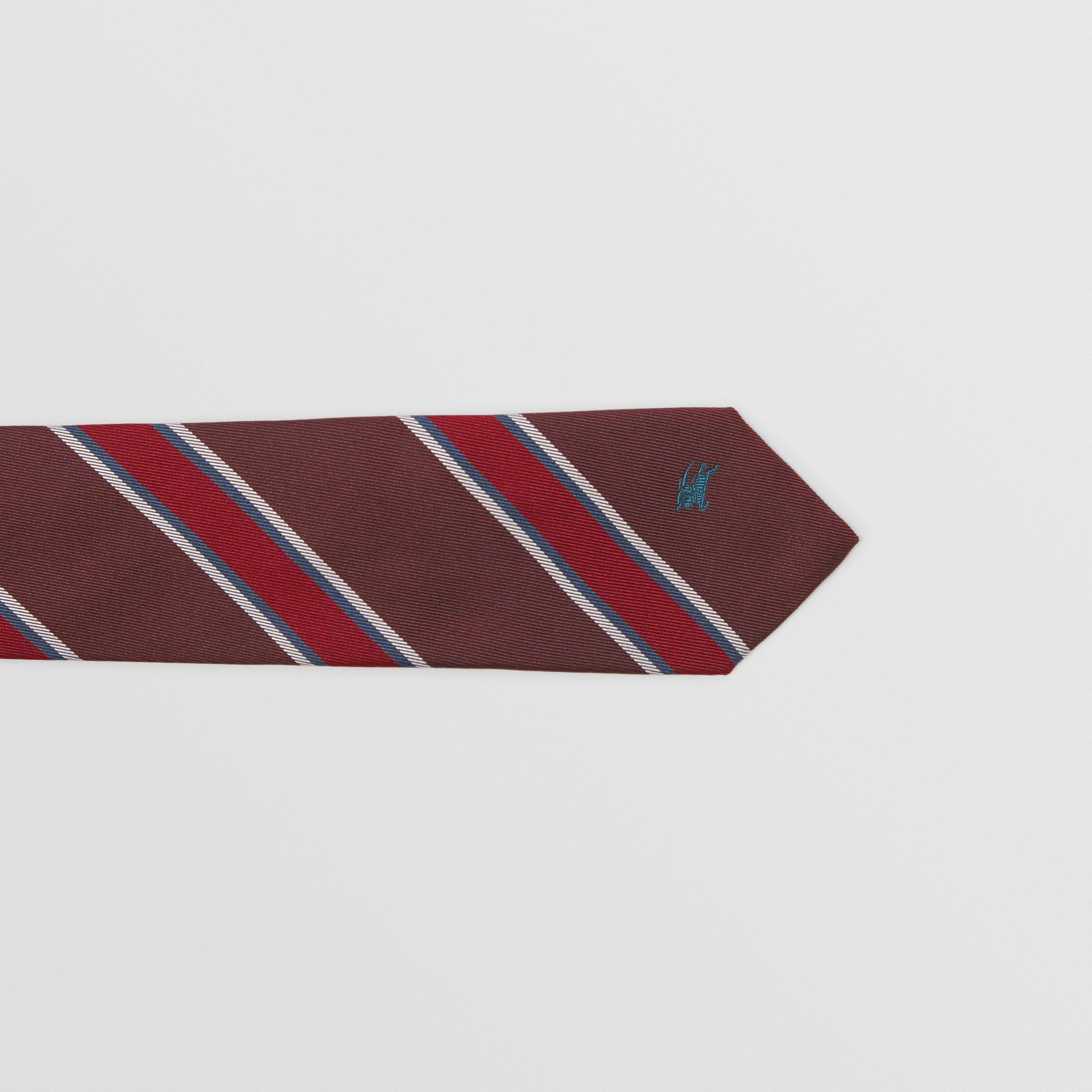 Modern Cut Striped Silk Jacquard Tie in Oxblood - Men | Burberry - gallery image 1
