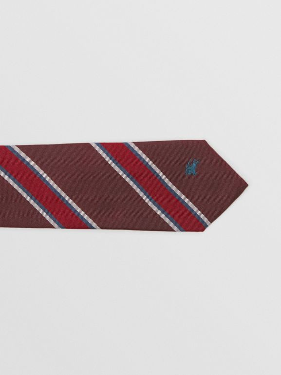 Modern Cut Striped Silk Jacquard Tie in Oxblood - Men | Burberry - cell image 1