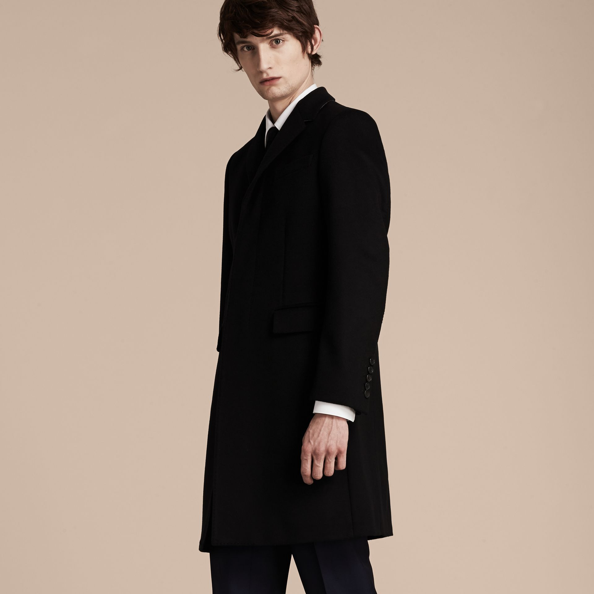 Black Wool Cashmere Tailored Coat Black - gallery image 7