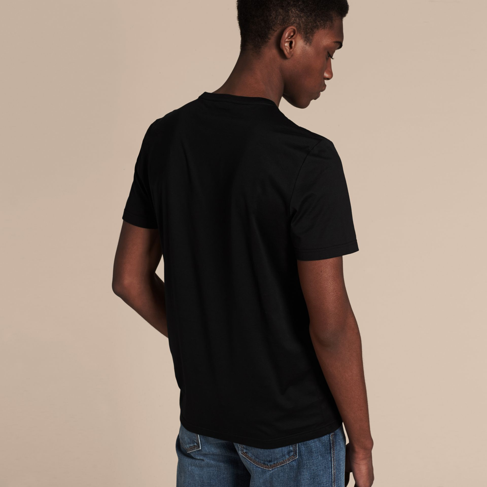 Black Cotton T-shirt with Sequin Stripe Detail Black - gallery image 2