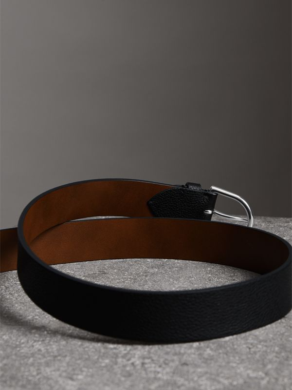 D-shaped Buckle Grainy Leather Belt in Black - Men | Burberry - cell image 3