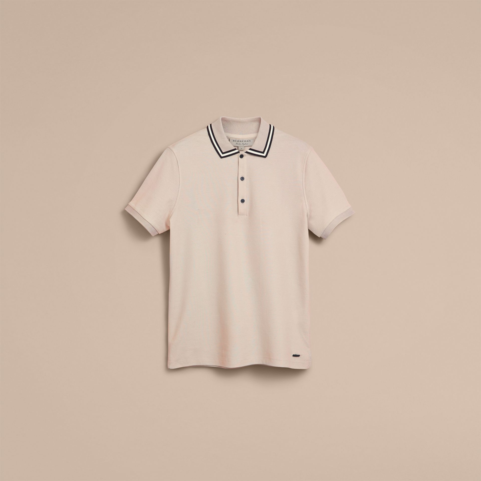 Striped Collar Cotton Piqué Polo Shirt in Stone - gallery image 4